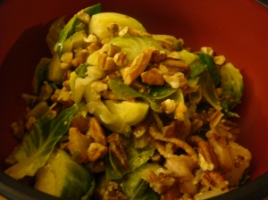 close-up of brussel sprouts with pecans (Iron Chef Michael Symon recipe)