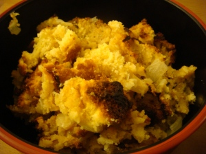 cornbread stuffing with caramelized onions and bacon (recipe modified ...