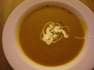 Trader Joe's carrot ginger soup with creme fraiche and chives