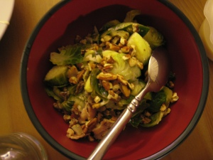 brussel sprouts with bacon and chopped pecans