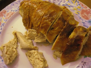 herb-roasted brined turkey breast, sliced against the grain